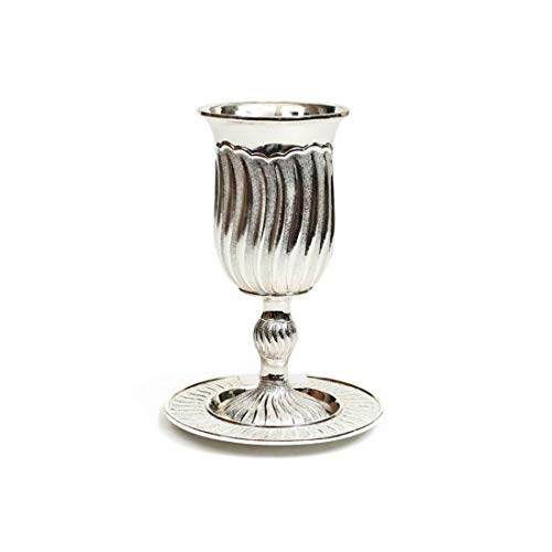 Modern Silver Plated Kiddush Cup and Plate - Classy Wave Design