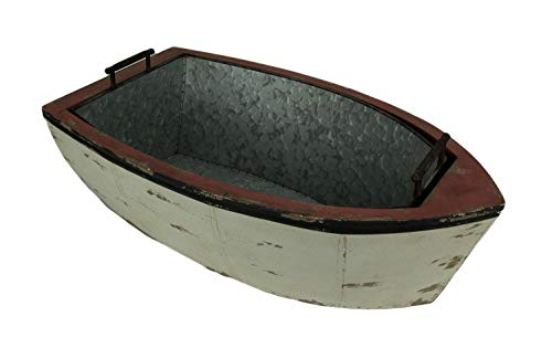 (Gerson Distressed Wood and Metal Vintage Row Boat Ice Bucket)