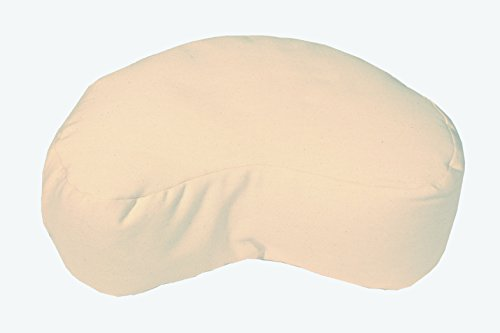 Bean Products Natural - Crescent Zafu Meditation Cushion - Yoga - 10oz Cotton - Organic Buckwheat Fill - Made in USA