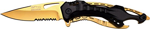 MTech USA MT-A705BG Spring Assist Folding Knife, Gold Blade, Black and Gold Handle, 4.5-Inch Closed