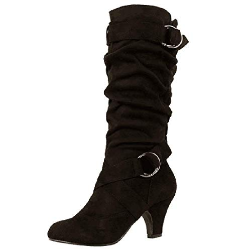 Heel Heel Nero Slouch Mid COOLCEPT Donna Donna Donna Comfort Boots BcFc4H