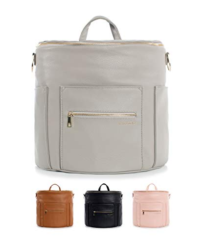 Fawn Design Premium Vegan Leather Diaper Bag and Backpack (Gray 2.0)