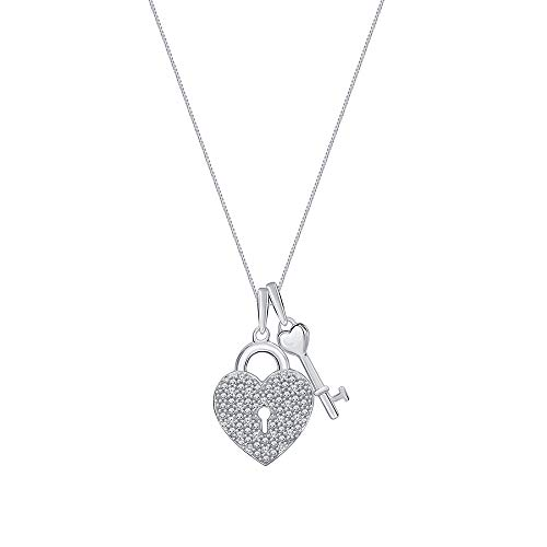 La Joya 1/10ct Round White Diamond 925 Sterling Silver Heart Lock Key Pendant Necklace with 18