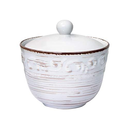 Trellis White Sugar Bowl with Lid