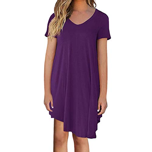 - Seaintheson Womens Summer Dress, Women's Short Sleeve Loose T-Shirt Dress Cocktail Skater Skirt Casual Midi Dress Purple