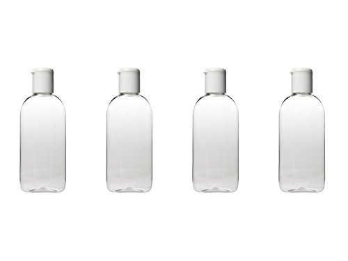 100 ml HOLIDAY TRAVEL BOTTLES 4 x 100ML Clear Plastic Bottles - Airport Approved