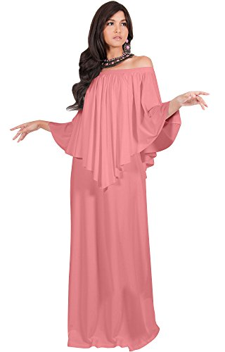 KOH KOH Plus Size Womens Long Strapless Shoulderless Flattering Cocktail Evening Off The Shoulder Cold Sexy Evening Flowy Formal Slimming Gown Gowns Maxi Dress Dresses, Cinnamon Rose Pink 4XL 26-28