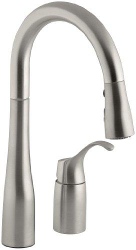 KOHLER K-649-VS Simplice Pull-Down Secondary Sink Faucet, Vibrant Stainless