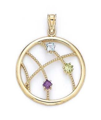 Tricolore 14 carats - 3 mm-JewelryWeb Tricolore avec pendentif en forme de cercle