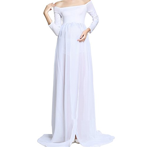 spalla per Bianco fotografia puntelli Dresses chiffon MUCHAO Off incinta Maternity lunghi abiti Womens RI7wq18
