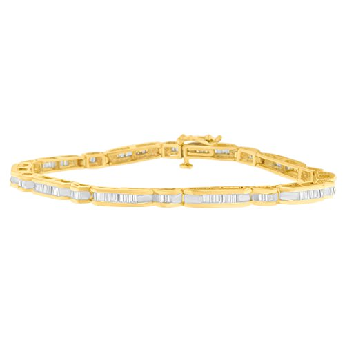 10k Baguette Bracelet (10K Yellow Gold Baguette-Cut Diamond Banded Bracelet (1.00 cttw, J-K Color, SI2-I1 Clarity))