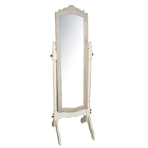 A cheval mirror in a cream finish
