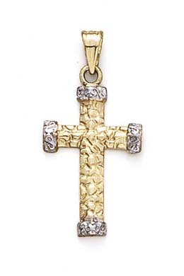 (14k Two-Tone Gold Small Nugget Cross Etruscan End Pendant)