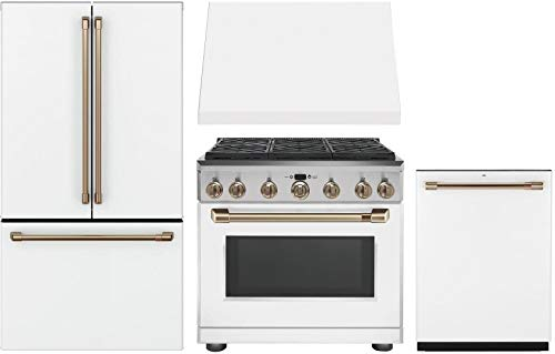 "GE Cafe 4 Piece Kitchen Package with CWE23SP4MW2 36"" Smart French Door Refrigerator, C2Y366P4MW2 36"" Dual Fuel Range, CVW93614MWM 36"" Wall Mount Hood CDT836P4MW2 24"" Built In Dishwasher in Matte White"
