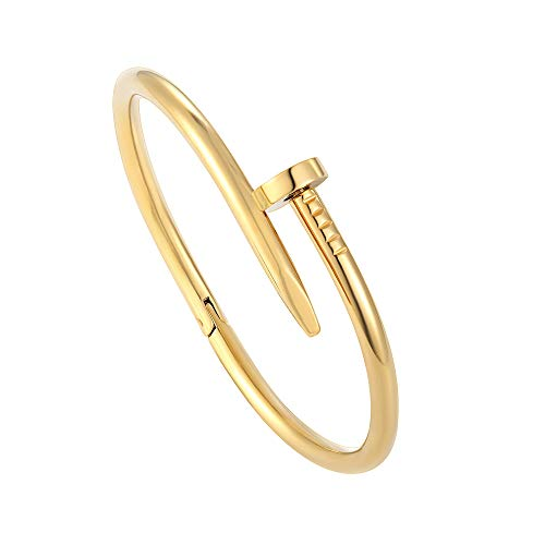 Z.RACLE Nail Bracelets for Women Inspired Stainless Steel Love Bangle Bracelets Gold 7.5IN