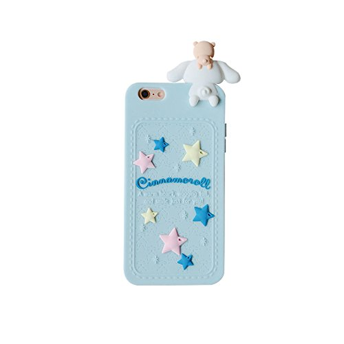 Blue Dog Puppy Luxury Designer Soft Silicone Rubberized 3D Cartoon Case for iPhone 6Plus 6sPlus 6+ 6s+ Cute Lovely High Fashion Kawaii Cool Japanese Gift for Teens Little Girls Women Cinnamoroll