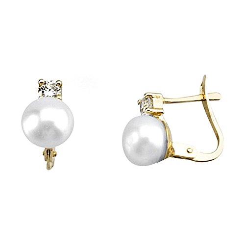 Boucled'oreille 18k perle d'or zircon première communion [AA6494]
