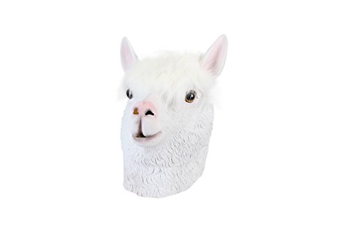 Laylala Alpaca Latex Animal Head Masks Collection for Festival or Dance Party(White)]()