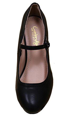 Cambridge Select Donna Tacco Medio Mid Heel Mary Jane Dress Pump Black