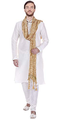 SKAVIJ Men's Tunic Ethnic Wear Kurta Pyjama and Stole Set (Large, -