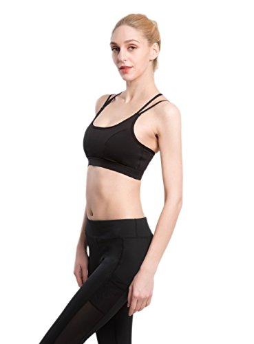 AIYIHAN Sujetador deportivo para Mujer Yoga Wirefree Sexy Running Bras Negro