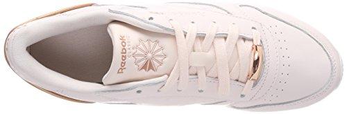 Mujer Zapatillas Cl Lthr de HW Pale Gold Pinkwhiterose para Running Reebok Rosa dq6SZwx0q