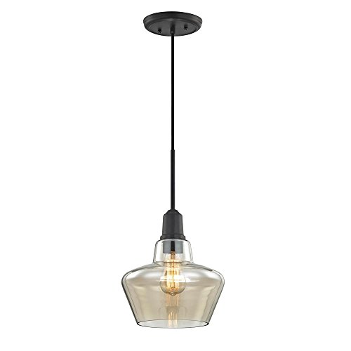 Troy-CSL Lighting Keystone 1-Light Aged Bronze Pendant with Amber Plated Glass Shade and Vintage Bulb