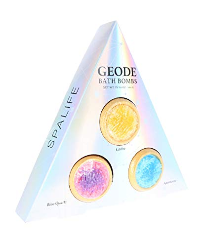 SpaLife Geode Bath Bomb 3pc Set - Citrine, Rose Quartz & Aquamarine 5.6oz Gemstone Bath Bombs