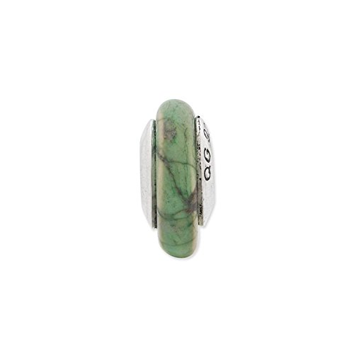 Sterling Silver Reflections Green Maganasite Stone Bead (Reflections Sterling Silver Green)