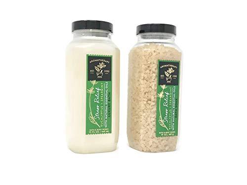 - 2pc SET - Bath & Body Works Aromatherapy Eucalyptus Spearmint Stress Relief Bath Soak & Luxury Bath Set