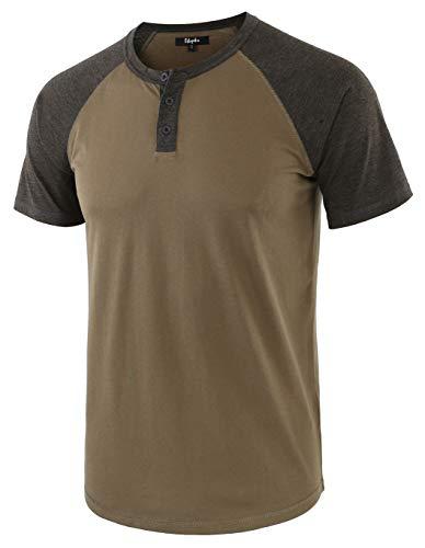 - Estepoba Men's Casual Vintage Short Raglan Sleeve Baseball Henley Jersey Shirts Army/H.Charcoal L