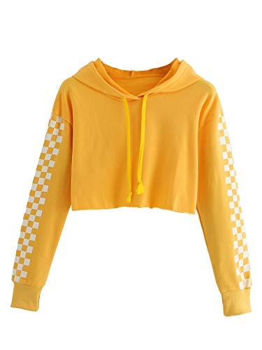 Embroidered Sweatshirt Yellow - MAKEMECHIC Women's Pineapple Embroidered Hoodie Plaid Crop Top Sweatshirt Yellow-4 M