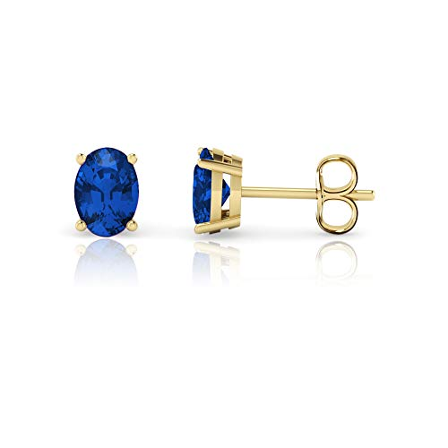- 14K Yellow Gold Oval Cut Lab Created Blue Sapphire Stud Earrings (7x5mm)