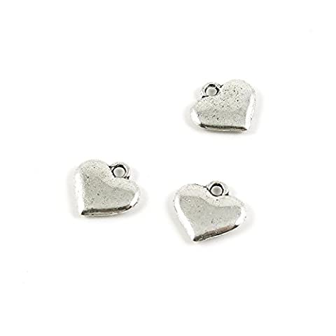 30 Pieces Wholesale Supplies Ancient Silver Fashion Jewelry Making Charms Findings W-13199 Heart Pendant Craft DIY Vintage Alloys Necklace Bulk Supply - Heart Charm Jewelry Finding