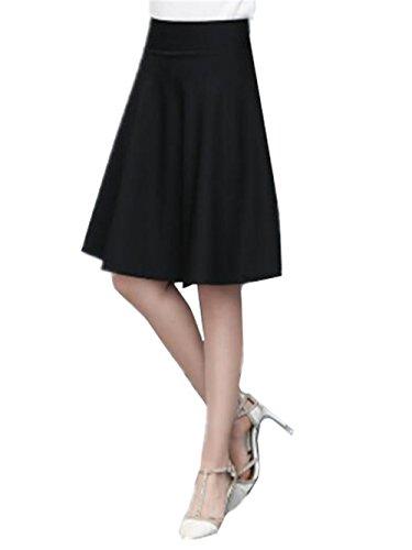 Haililais Femme Jupe Au Genou Grande Taille Jupe A-Line Taille Haute Jupe Patineuse Couleur Unie Femelle Skirt Basique Jupe Black