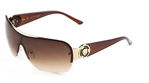 Kleo Lion Head Medallion One Piece Shield Sunglasses (Amber & Gold, Brown)