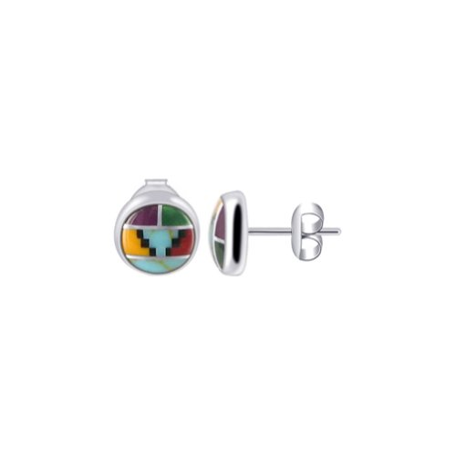Gem Avenue 925 Sterling Silver 6mm Coral & Simulated Turquoise Stud Earrings for women Southwestern Style
