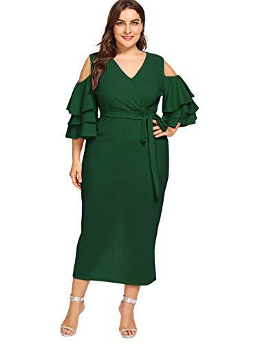 Milumia Women's Plus Size Cold Shoulder Layered Flounce Sleeve Wrap Maxi Dress Green 0XL