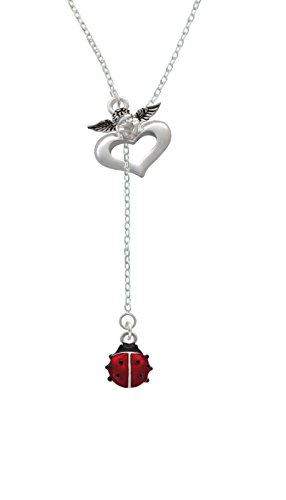 Bug Watch Necklace (Silvertone Mini Red Translucent Ladybug - Guardian Angel Lariat Necklace, 18
