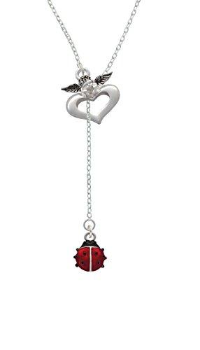 Silvertone Mini Red Translucent Ladybug - Guardian Angel Lariat Necklace, 18