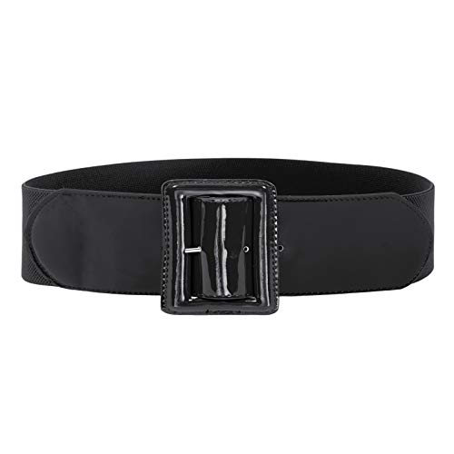 GRACE KARIN Women Casual Elastic Waist Cinch Belt with Square Buckle M 843-Black
