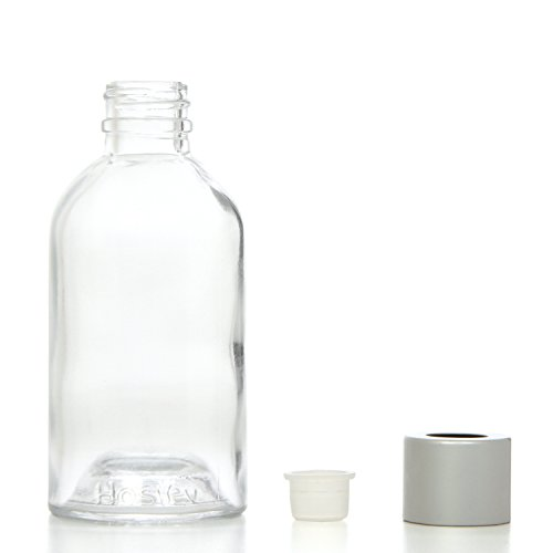 Hosley Aromatherapy Glass Diffuser Bottles. With Stopper Cap, Set of 4, 85 ml Boston Round style. Empty. Great for storing Essential Oils, reed diffuser sets, Craft Projects, Wedding, Party