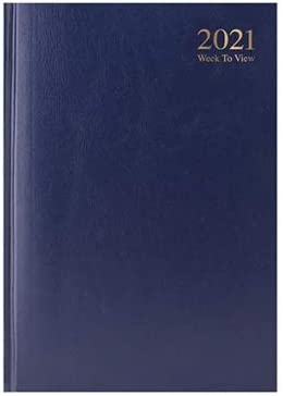 2021 A5 Diary Week to View Hardback /& Case Bound Value Range Blue