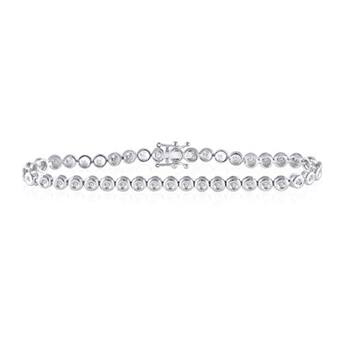 0.50 Cttw Round Cut Natural Diamond Bezel Set Tennis Bracelet in 14K Solid Gold