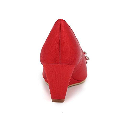 arcs plus de Heels Silk YC chaussures Sandales Elegant red de L Slip et confortables mariage couleurs wA07qO