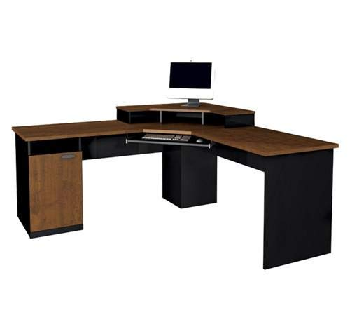 Corner Workstation in Tuscany Brown and Black Finishes