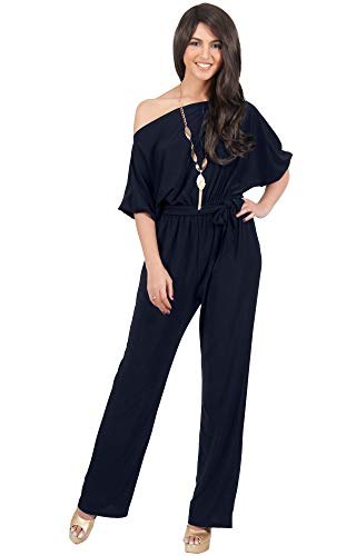 KOH KOH Womens One Shoulder Short Sleeve Sexy Wide Leg Long Pants One Piece Jumpsuit Jumpsuits Pant Suit Suits Romper Rompers Playsuit Playsuits, Dark Navy Blue L 12-14