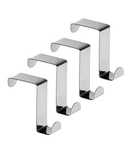 fwehfefh da Armadio e cassetto Ganci, Ganci Appendiabiti da Porta in Metallo in Acciaio Inox Reversibile –  Set da 4 Ganci Appendiabiti da Porta in Metallo in Acciaio Inox Reversibile-Set da 4