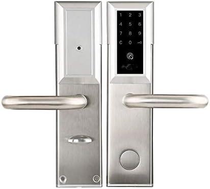 電子ドアロック ホームオフィス用の電子ブルートゥーススマートドアロックデジタルキーレスタッチパスワード 電子錠 (Color : Silver, Size : One size)