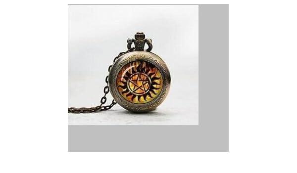 Winchester - Reloj de bolsillo con colgante de tatuaje de Demon ...